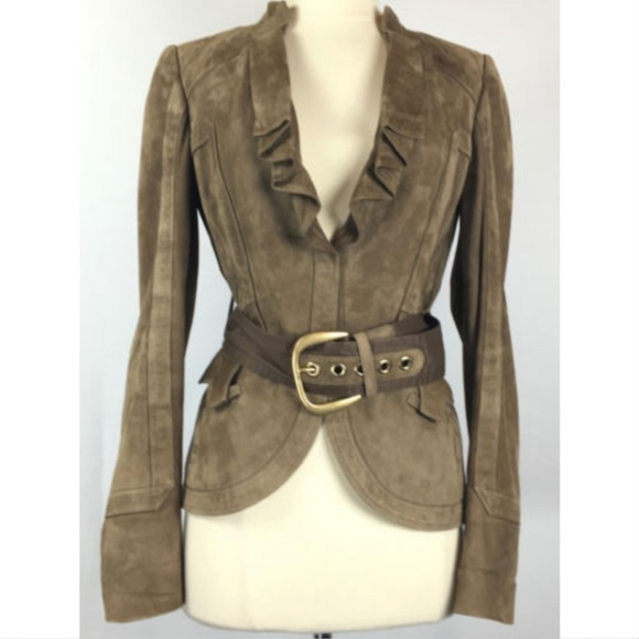 842b53366 Gucci Jackets & Coats | Suede Leather Belted Jacket 1607259718 ...